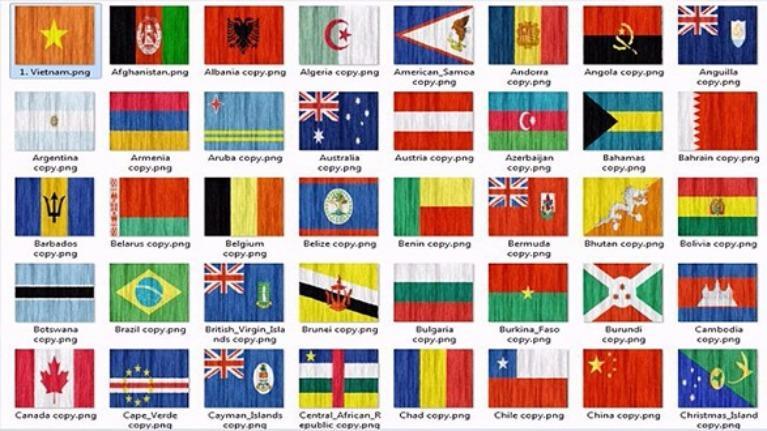Nhìn hình đoán quốc kì các nước trên thế giới